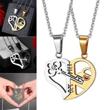 1 Pair Lovers Love Heart Lock Key Pendant Necklace Couples Stainless Steel Puzzle Necklace M8694