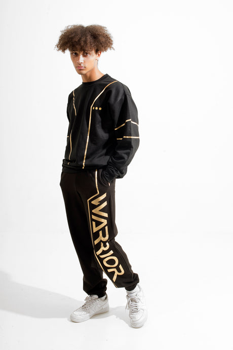 Warriör sweatpants with lazercut gold logo
