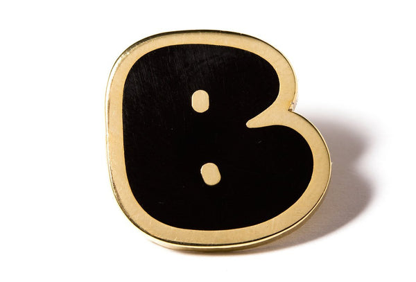 Pintrill Bubble Letter Pins - Black + Gold