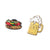 chicago style hot dog and beer stein two-pack pin set