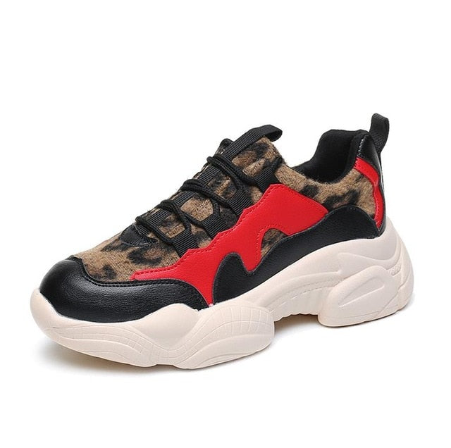 Sneakers rouge motif Léopard  CLARENCEE