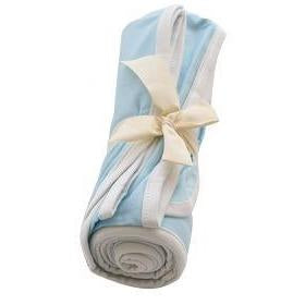 Swaddle Blanket in Powder with Cloud Trim