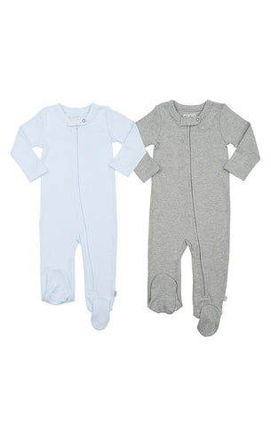 2 PACK | FOOTIES Gray & Blue