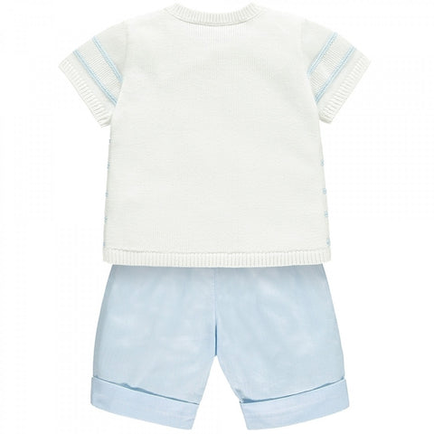 Milo Blue Boys Striped Knit Top and Shorts