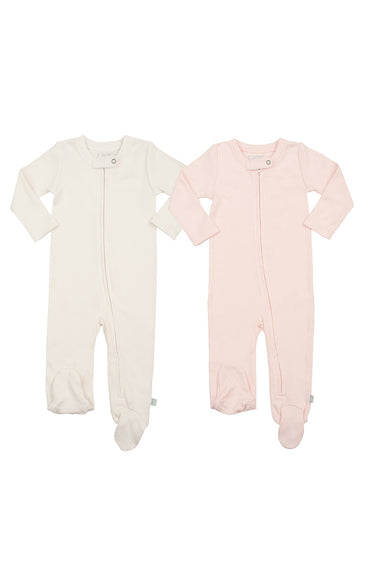 2 PACK | FOOTIES Pink & Egret