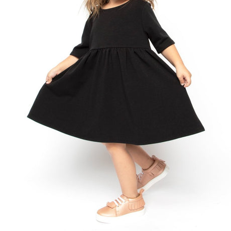 Black Elbow Sleeve Babydoll Dress