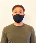 Man wearing reusable face mask
