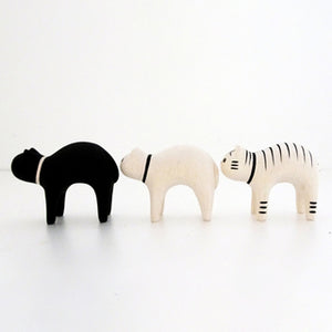 Pole Pole Wooden Animal Black Cat