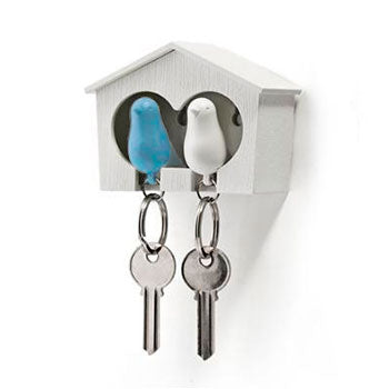 Duo Sparrow Keyring White Blue