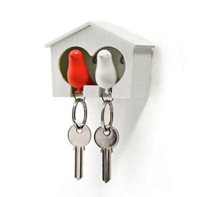 Duo Sparrow Key Ring Red White