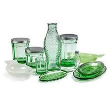 Load image into Gallery viewer, Glass Green S Fish & Fish (set of 4)