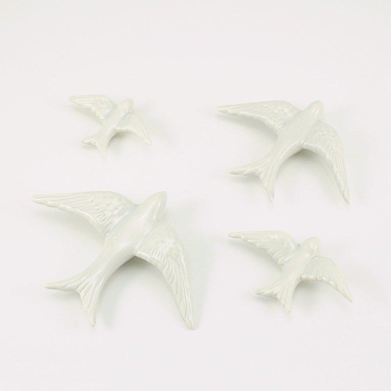 Ceramic Swallows White (Set of 4)