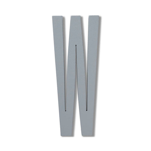 Wooden Letter W Grey