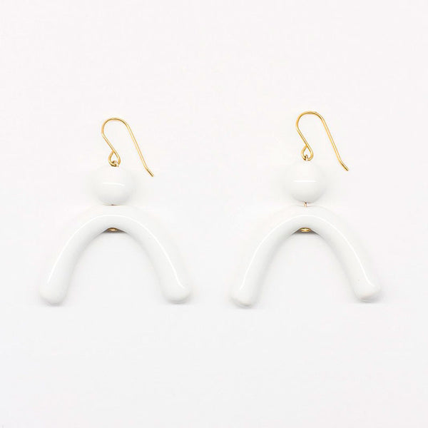 Bambú Earrings White