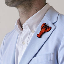 Load image into Gallery viewer, Orange Lobster Hand-embroidered Brooch