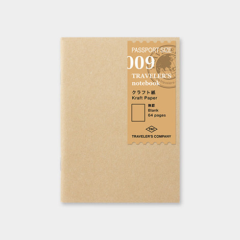 Traveler's Notebook Refill 009 Kraft paper Notebook - Passport Size