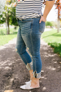 Great Lengths Cuffed Girlfriend Jeans