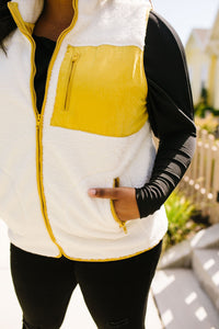Bright Side Contrast Trim Fleece Vest