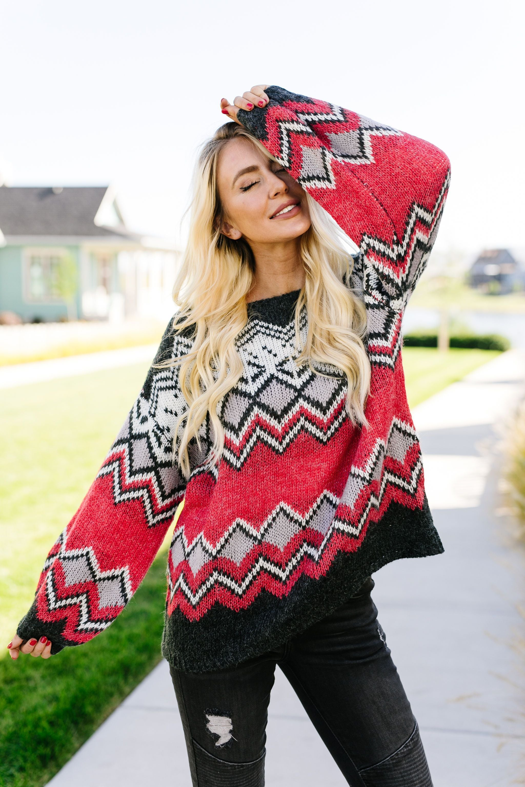 Fair Isle Sweater In Charcoal + Red