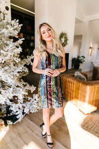 Glittering Resolutions Striped Dress