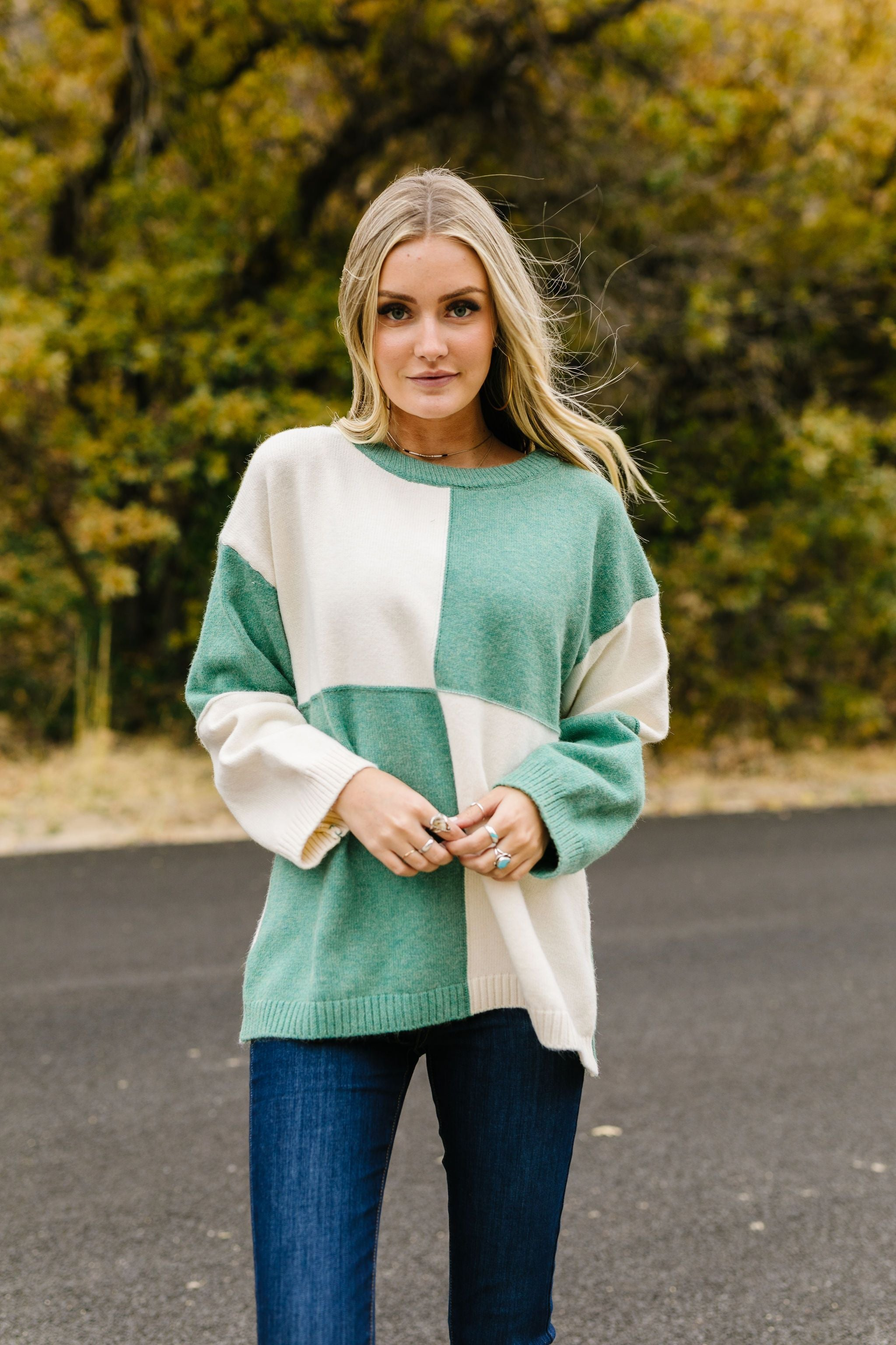 Kelly Four Square Color Block Sweater