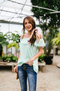Penelope Pom Pom Off Shoulder Top In Mint