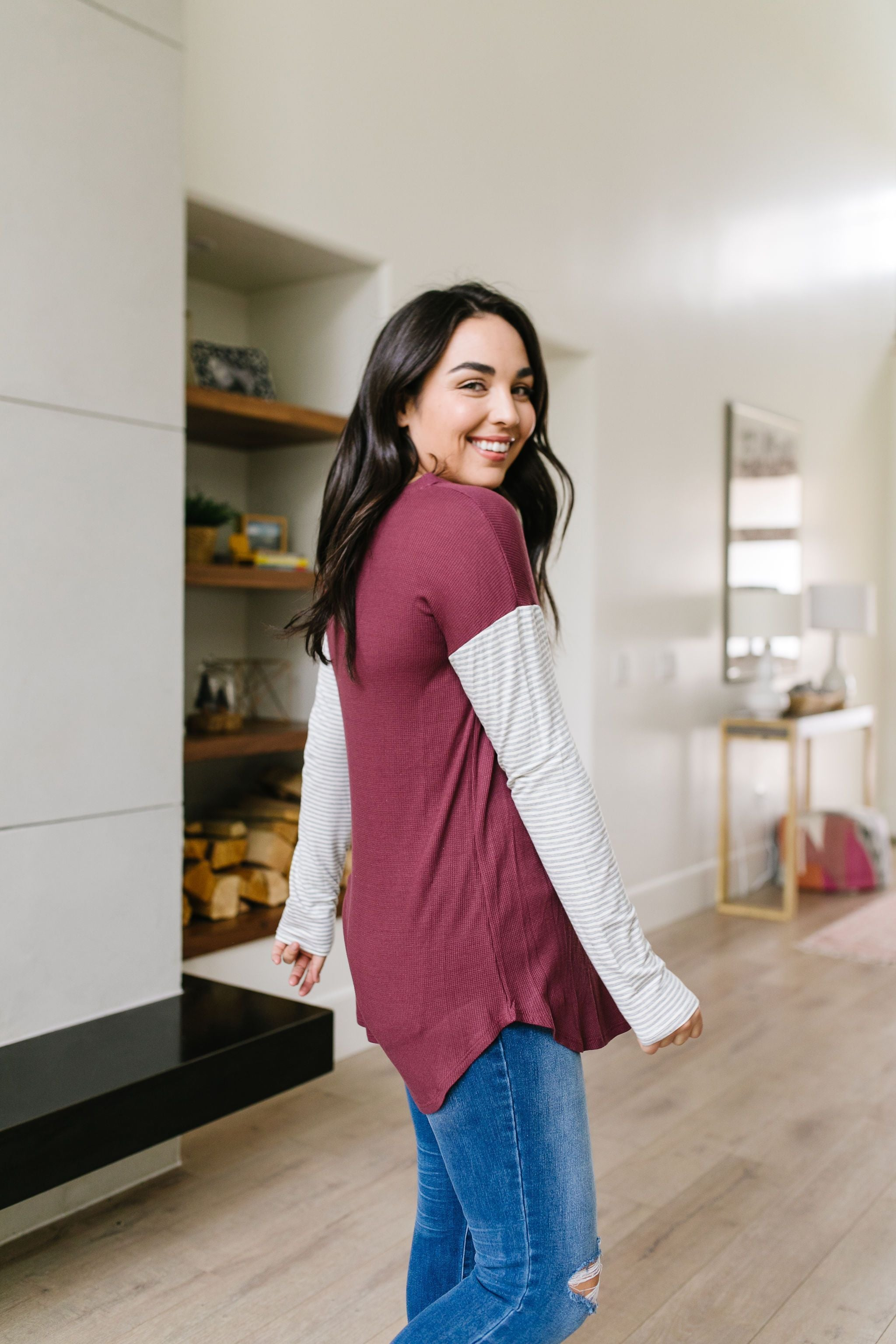 Pure & Simple Raglan Tee In Plum