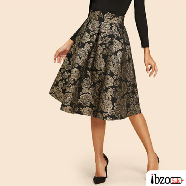 Vintage Flower Print Flare Knee-Length Skirts
