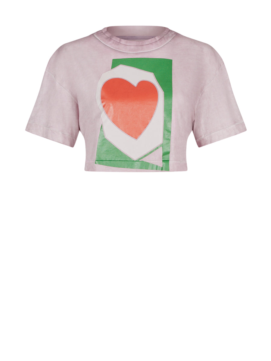 HEART CROPPED T-SHIRT LILAC