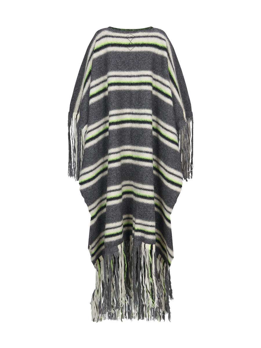 STRIPED BLANKET PONCHO GREY NEON YELLOW