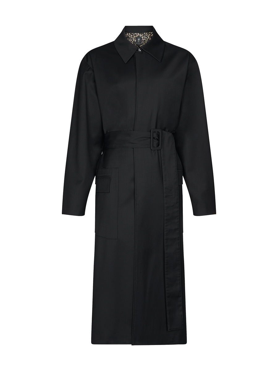 Victor coat wool in black
