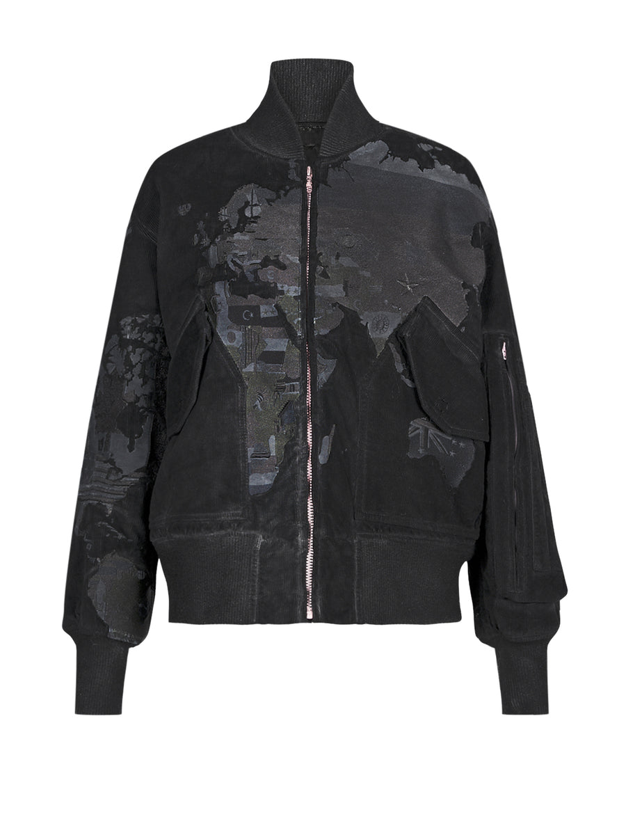 WORLDMAP BOMBER BLACK