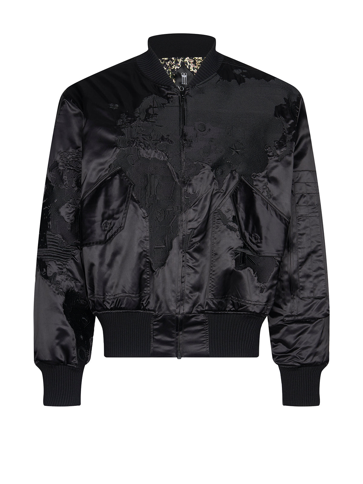 Satin worldmap bomber jacket in black
