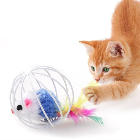 Cat Toy Iron Cage With Mouse Feather