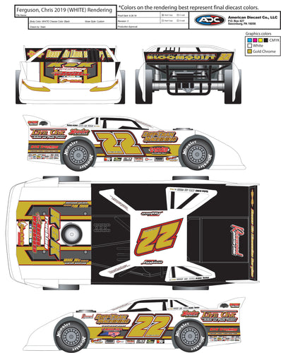 2019 World 100 White Out Chris Ferguson Die Cast