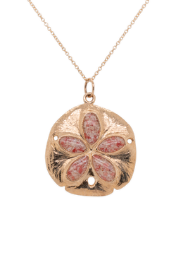 Friends ~ Large Sand Dollar 14K Gold Pendant - Alexandra Mosher Studio Jewellery Bermuda Fine