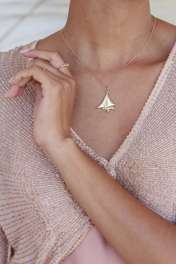 Nautical ~ Dinghy Pendant in Solid Gold - Alexandra Mosher Studio Jewellery Bermuda Fine