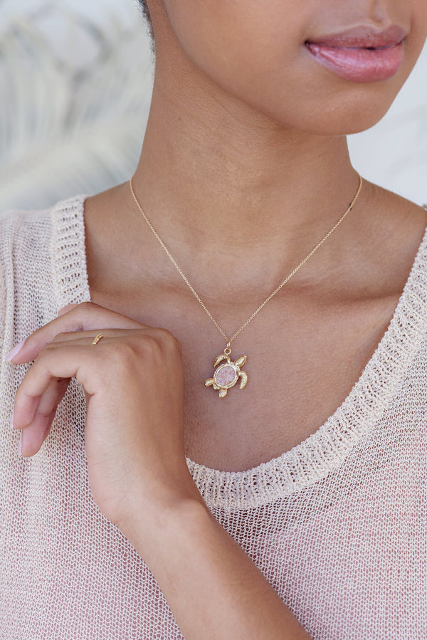 Friends ~ Turtle (Medium) Pendant in Gold - Alexandra Mosher Studio Jewellery Bermuda Fine