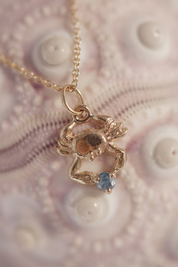 Sargasso ~ Crab Birthstone Pendant in Gold