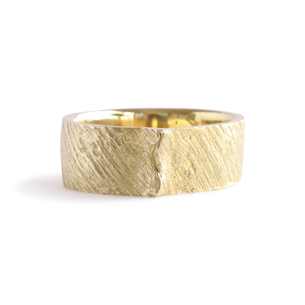 Bermuda Textured 14K Gold Bands Smooth Flatt's Dock Wood with Overlap Detail