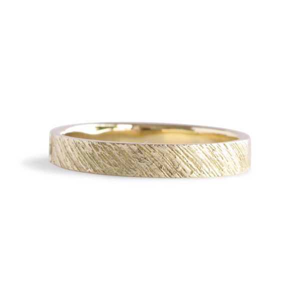 Bermuda Textured 14K Gold Bands Flatt's Dock Wood Grain - Thin - Alexandra Mosher Studio Jewellery Bermuda Fine
