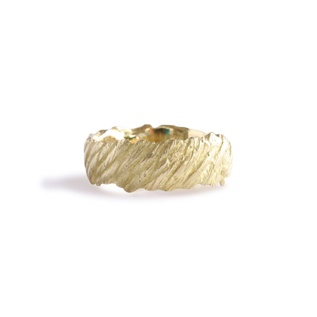 Bermuda Textured 14K Gold Bands Old Boat Rope from Flatt's Inlet - Thick
