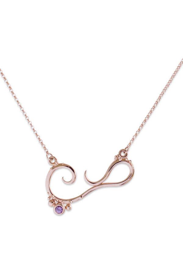 Bermuda ~ Medium Gem Inline Necklace in Rose Gold - Alexandra Mosher Studio Jewellery Bermuda Fine