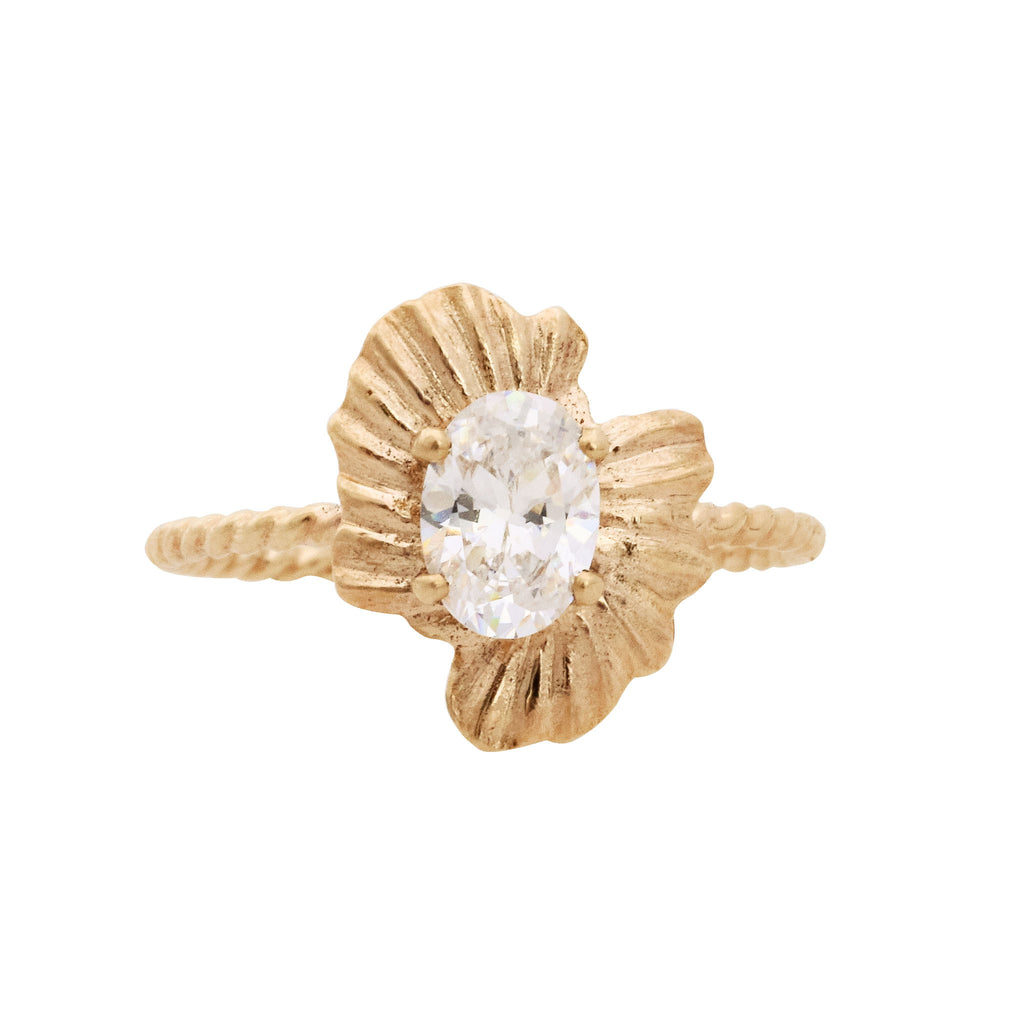 Textured Sea Shell 14K Gold Engagement Ring