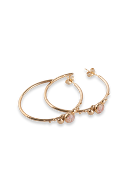 Coral Caviar ~ Large Hoop Earrings in Gold - Alexandra Mosher Studio Jewellery Bermuda Fine