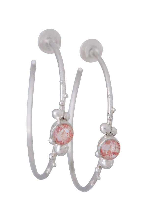 Coral Caviar ~ Large Hoop Earrings - Alexandra Mosher Studio Jewellery Bermuda Fine