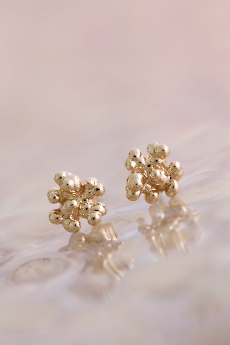 Caviar Tiny Stud Earrings 14k - Alexandra Mosher Studio Jewellery Bermuda Fine