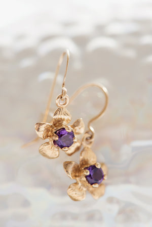 Floral Collection | Tiny Gem Dangle Earrings 14K