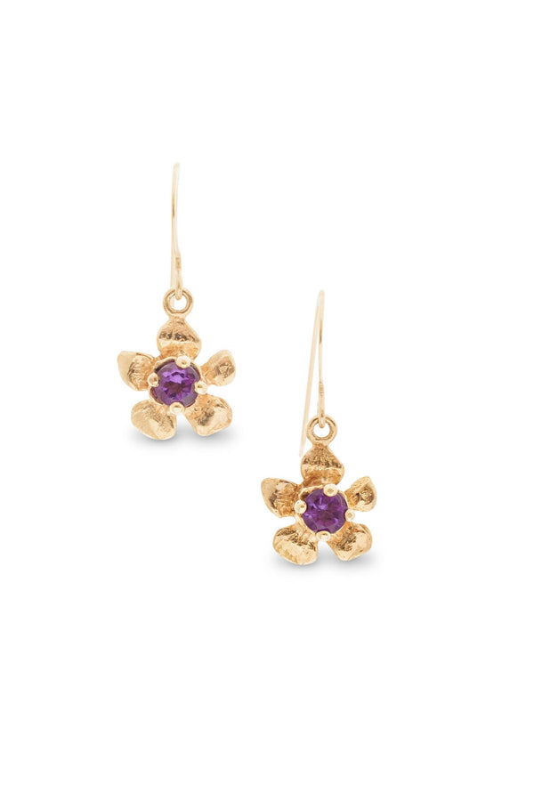 Fera ~ Tiny Flower Gem Earrings in Gold - Alexandra Mosher Studio Jewellery Bermuda Fine