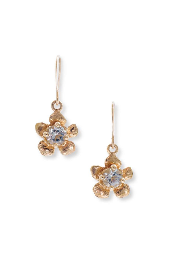 Floral Collection I Tiny Gem 14K Gold Earrings